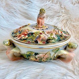Vintage Italian Porcelain Footed Cherub Bowl w Lid